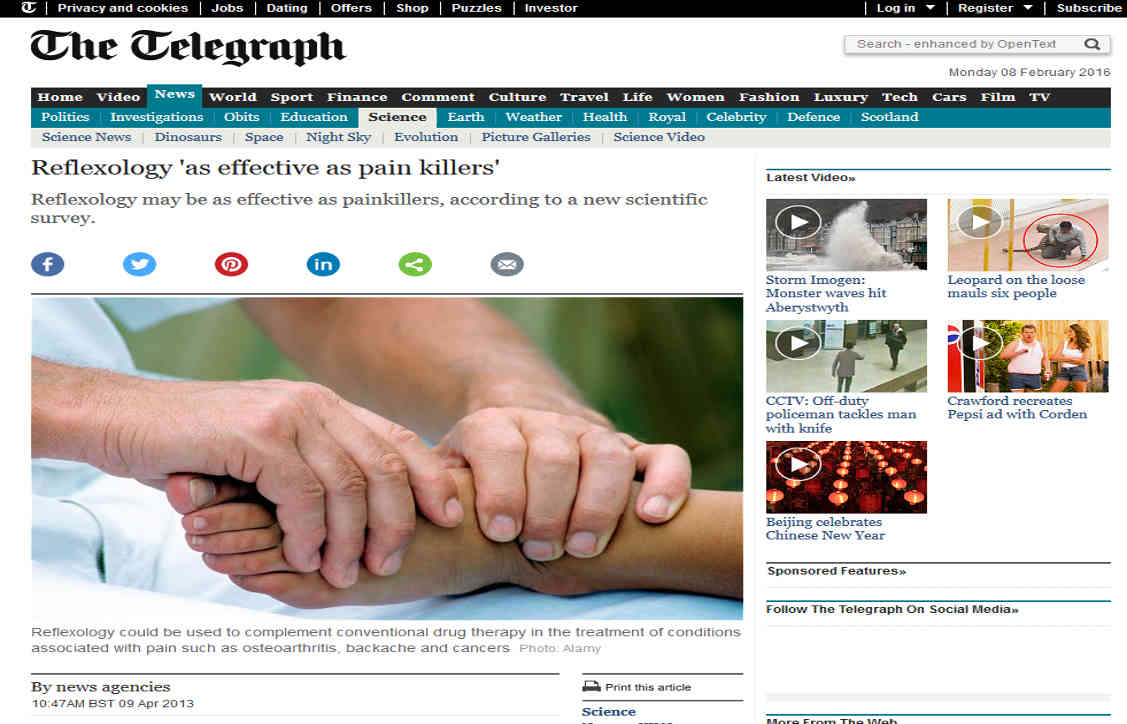 http://www.telegraph.co.uk/news/science/9981099/Reflexology-as-effective-as-pain-killers.html